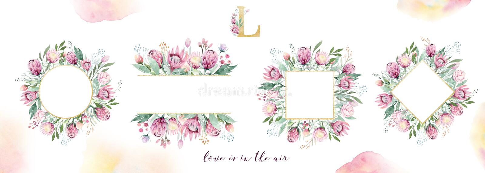 Hand drawing isolated watercolor floral frame with protea rose, leaves, branches and flowers. Bohemian gold crystal stock photo