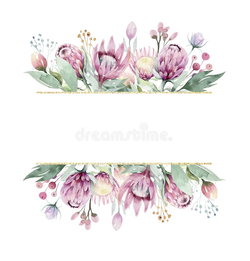 Free Hand Drawing Isolated Watercolor Floral Frame With Protea Rose, Leaves, Branches And Flowers. Bohemian Gold Crystal Stock Photo - 131857480