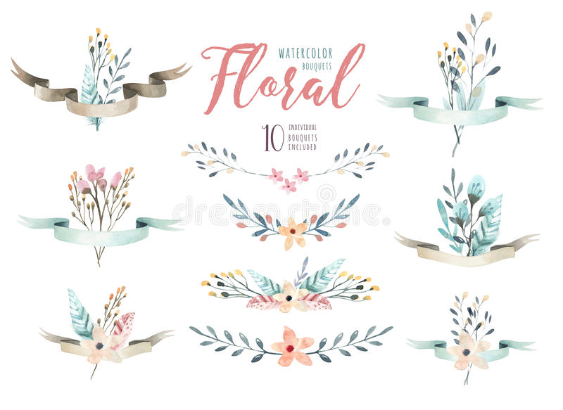 Hand drawing isolated watercolor floral illustration with leave royalty free illustration