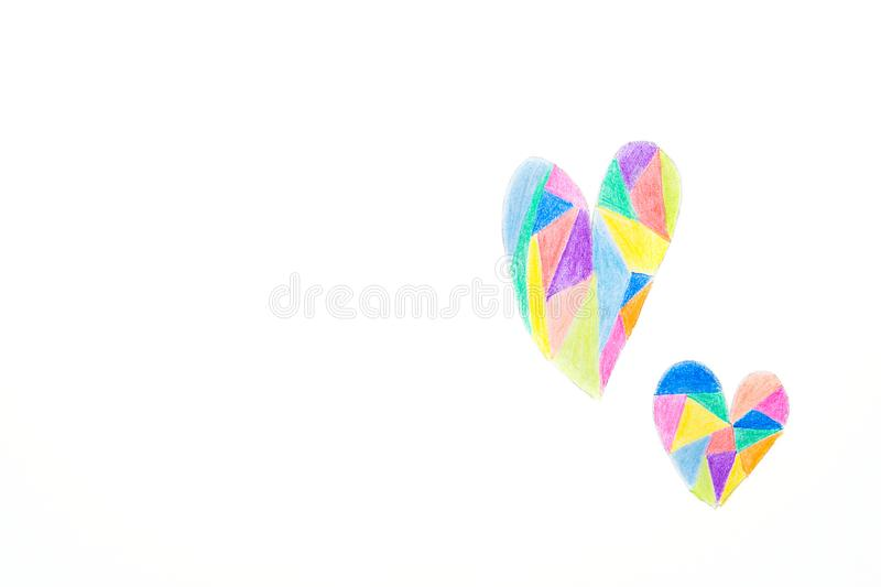 Hand Drawing in Kids Style of Doodle Hearts Colored with Crayons Pencils in Kaleidoscope Pattern. White Paper Background royalty free stock image