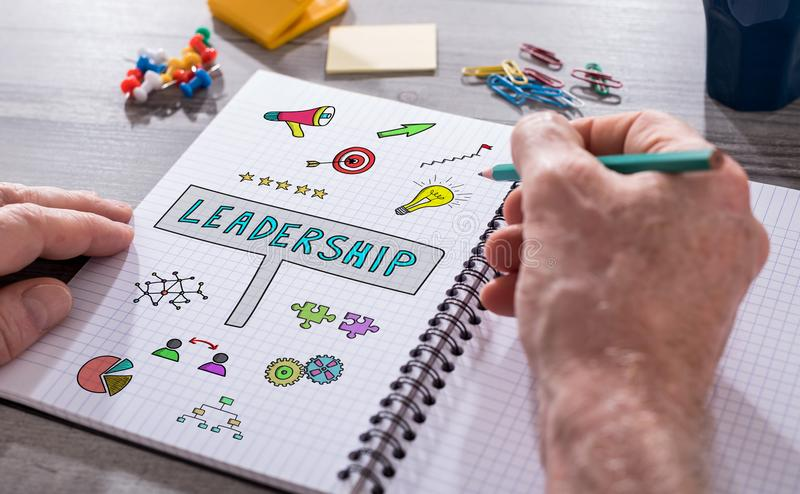 Leadership concept on a notepad royalty free stock photos