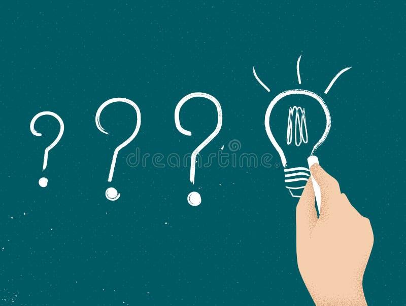 Hand drawing light bulb on blackboard royalty free illustration