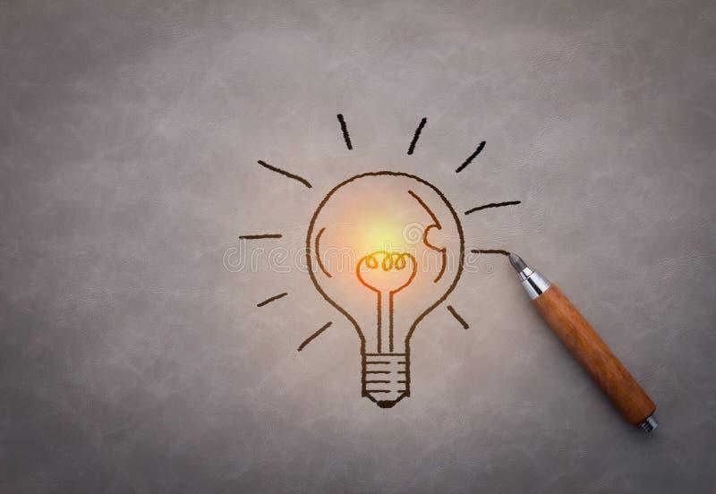 Hand drawing light bulb royalty free stock image