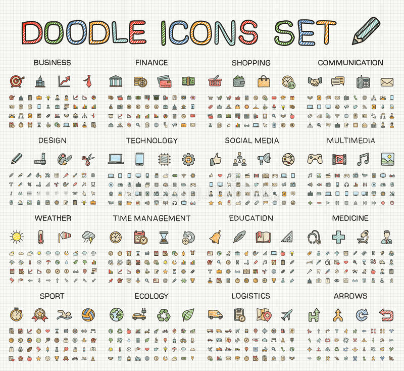 Free Hand Drawing Line Icons. Vector Doodle Pictogram Set Royalty Free Stock Photography - 57731607