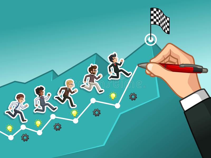 Hand drawing a line leading to the goal businessman concept. Hand drawing a line leading to the goal, running towards the goal businessman concept, against tosca royalty free illustration