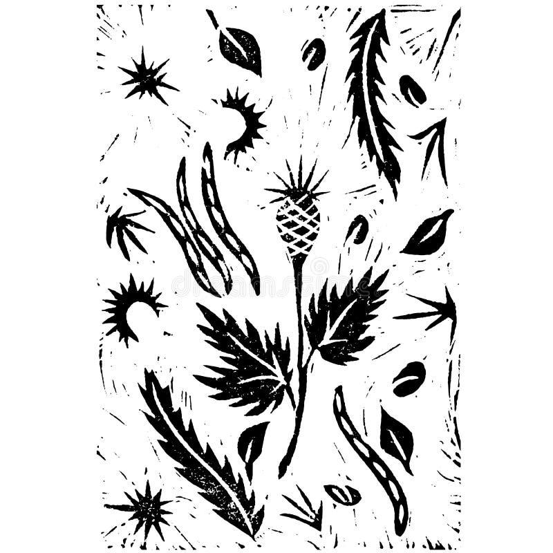 Hand drawing linocut. Autumn plants royalty free illustration