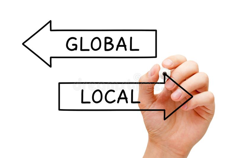 Local Or Global Arrows Concept stock photography