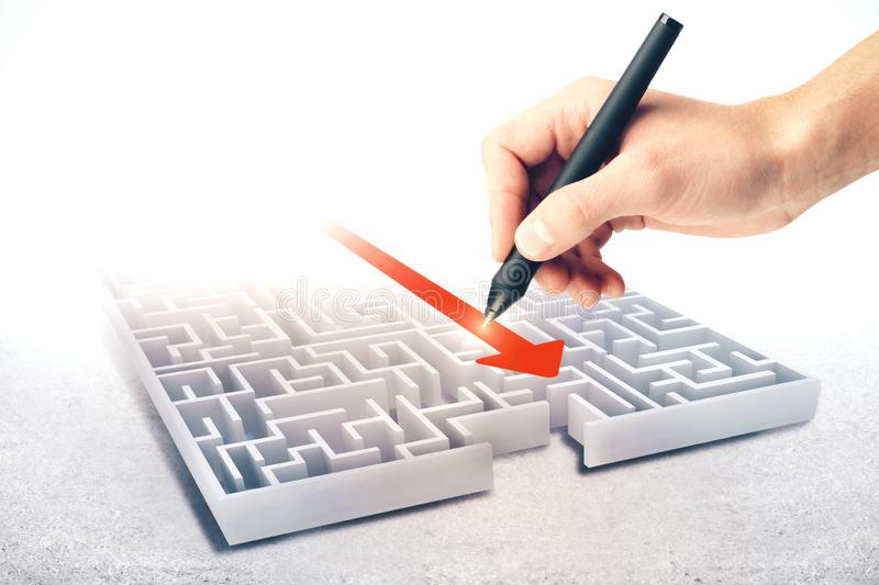 Hand drawing maze. Hand drawing creative maze with arrow. Difficulty and success concept royalty free stock photo