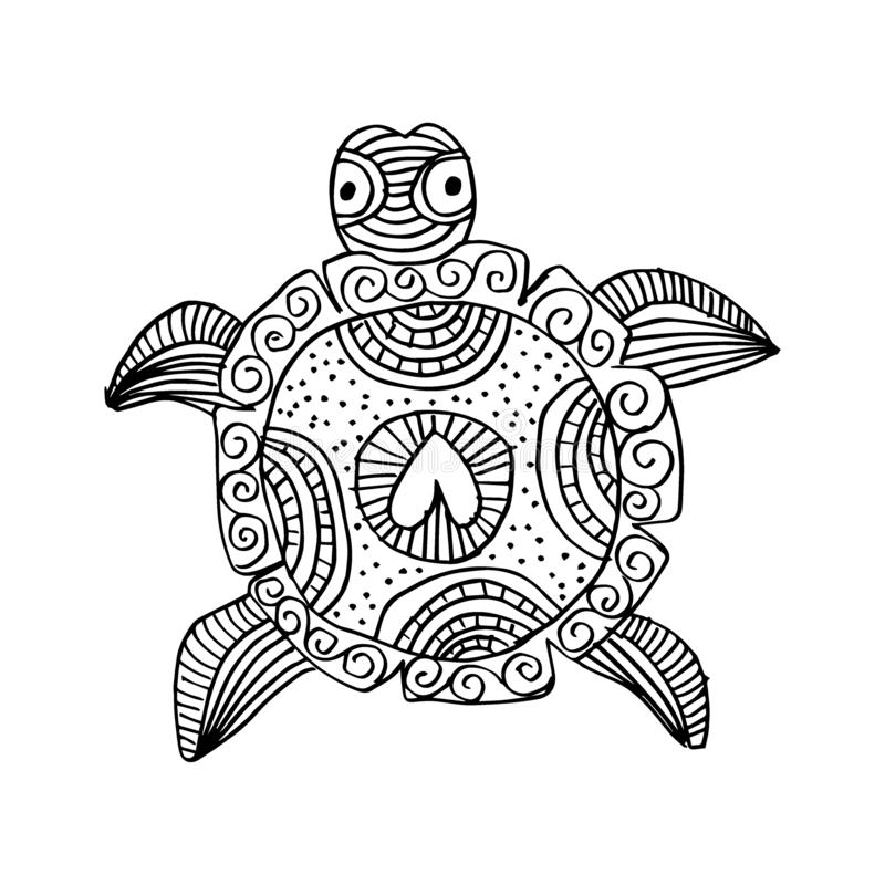 Hand drawing monochrome doodle turtle decorated vector illustration