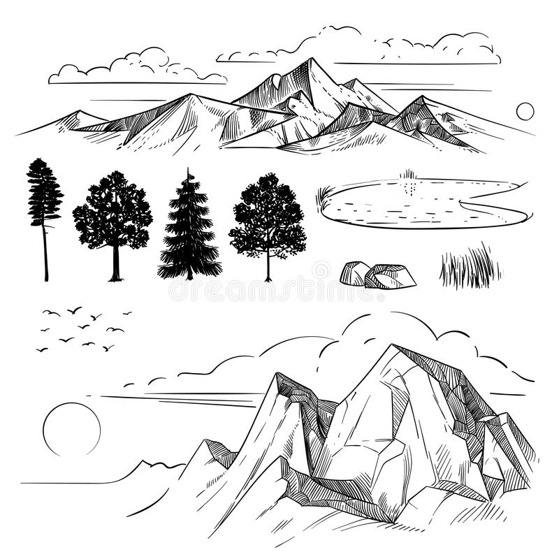 Hand drawing mountain range, peaks clouds, sun and forest trees. Retro mountains and landscape elements. Etching vector set. Nature landscape, peak and forest vector illustration