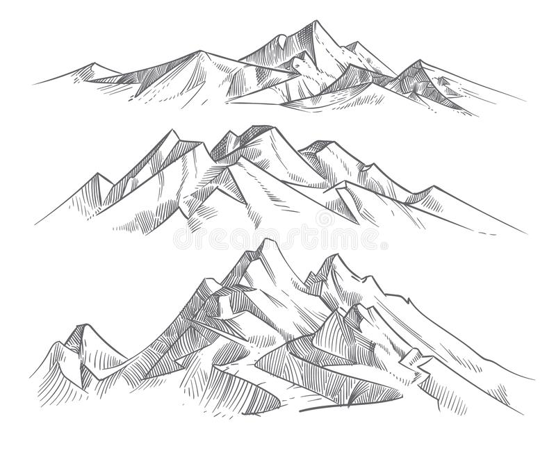 Hand drawing mountain ranges in engraving style. Vintage mountains panorama vector nature landscape. Peak outdoor sketch, landscape mountain range illustration vector illustration
