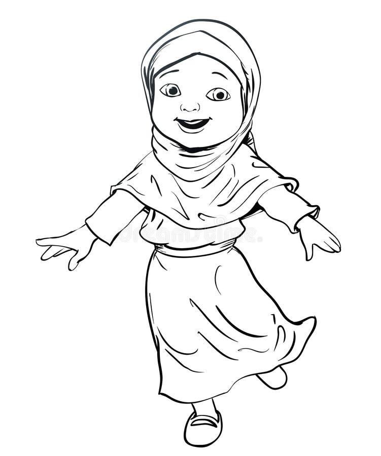 Hand drawing of Muslim Girl make running -Vector Illustration vector illustration
