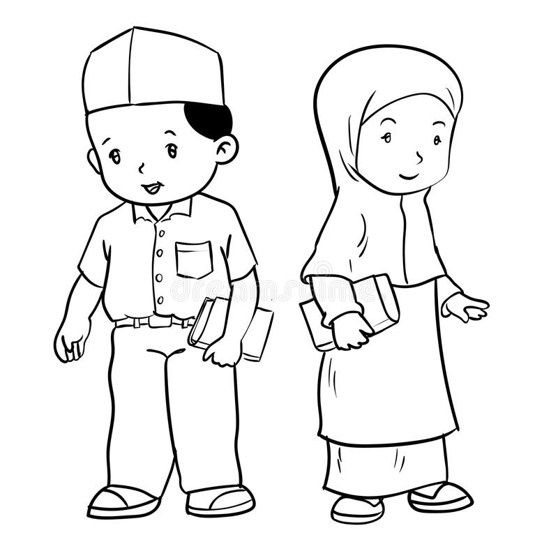 Hand Drawing Muslim Students-Vector Illustration Stock ...