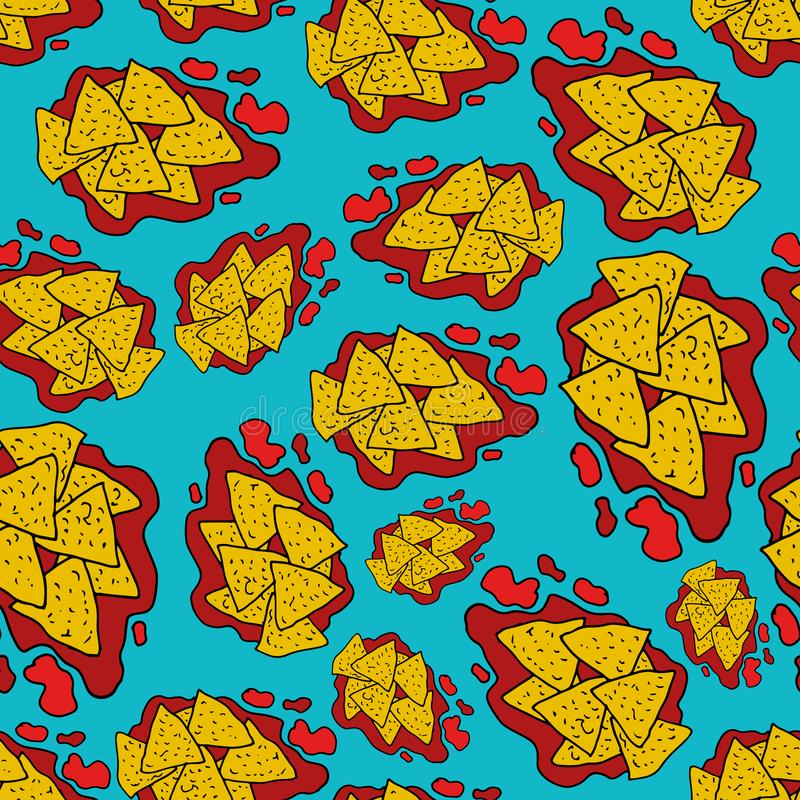 Hand drawing nachos doodle seamless pattern vector illustration