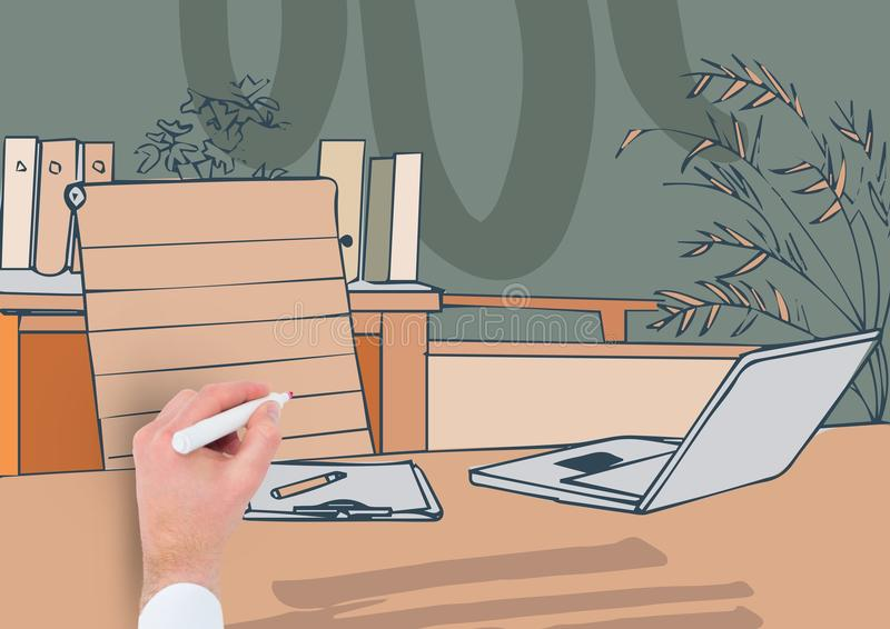 Drawing Lines In Office : Hand drawing office lines with color stock image of black