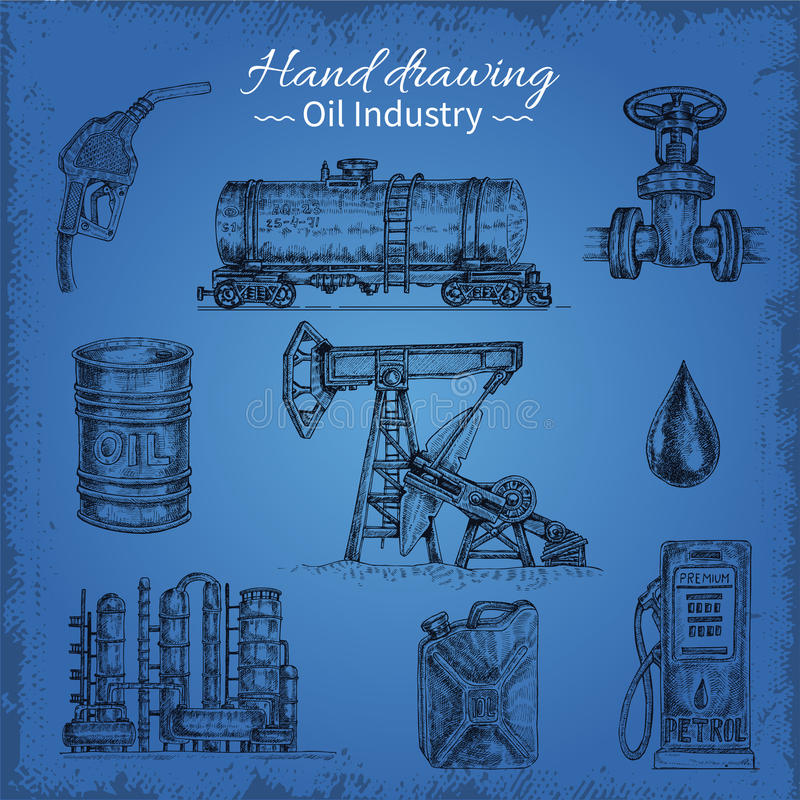 Hand Drawing Oil Elements royalty free illustration