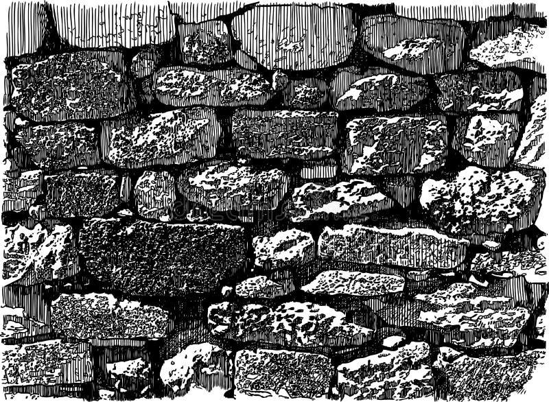 Vector drawing of an old brick wall. Hand drawing of old brick masonry royalty free illustration