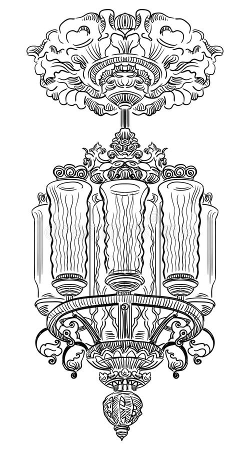 Hand drawing old vector chandelier. Ancient carving chandelier with stucco from Moscow metro, vector hand drawing illustration in black color isolated on white stock illustration