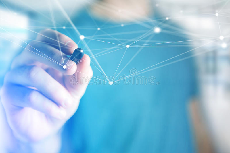 Hand drawing on an operating system screen and network connection stock photo