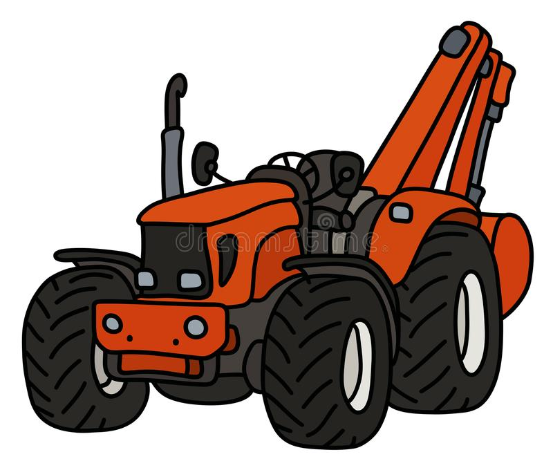 The small tractor with an excavator. The hand drawing of an orange small tractor with the excavator royalty free illustration