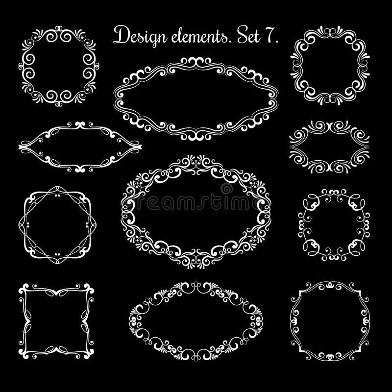 Hand Drawing Ornamental Frames. Ornate Vector Flourish Brackets For ...