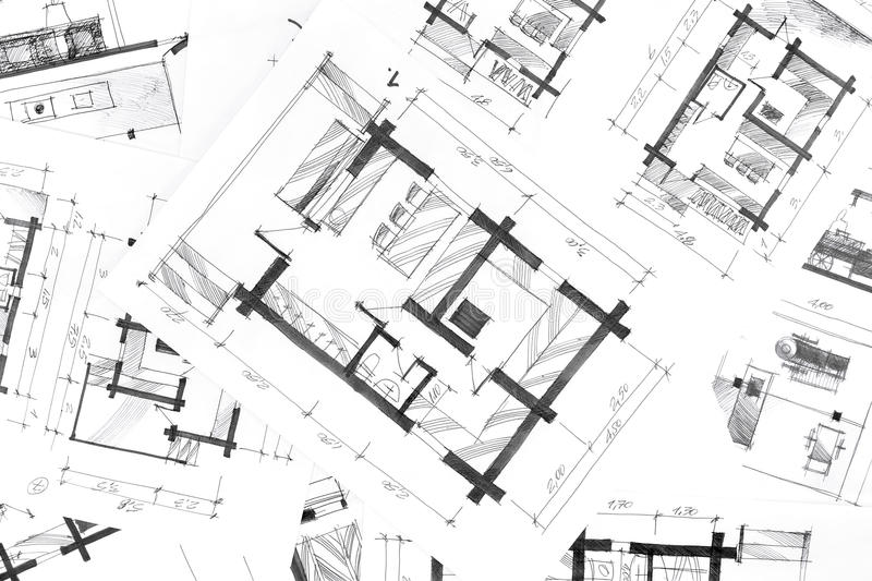 Hand drawing plans background stock illustration for Renovation drawings