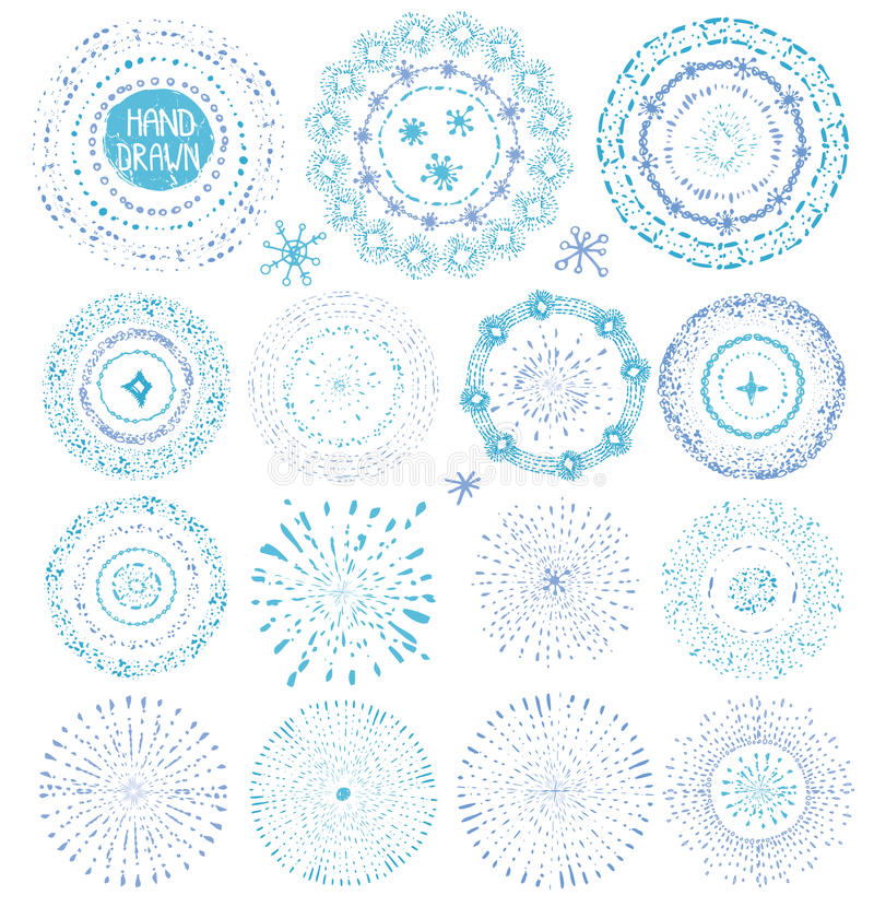 Hand drawing point textures.Burst,wreath,frame.Blue royalty free illustration