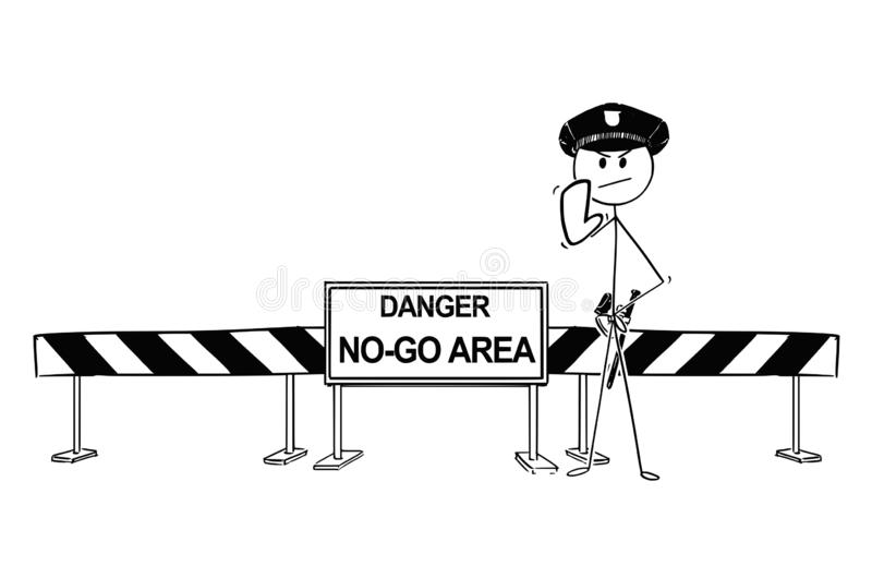 Hand Drawing of Policemen Standing Near Road Block With No-Go Area Sign royalty free illustration