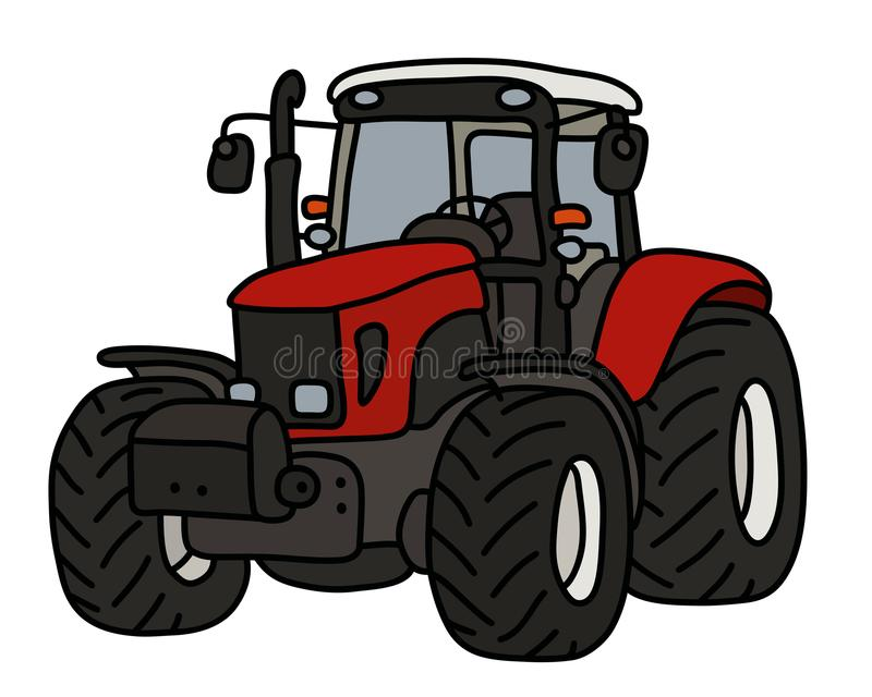 The red heavy tractor vector illustration