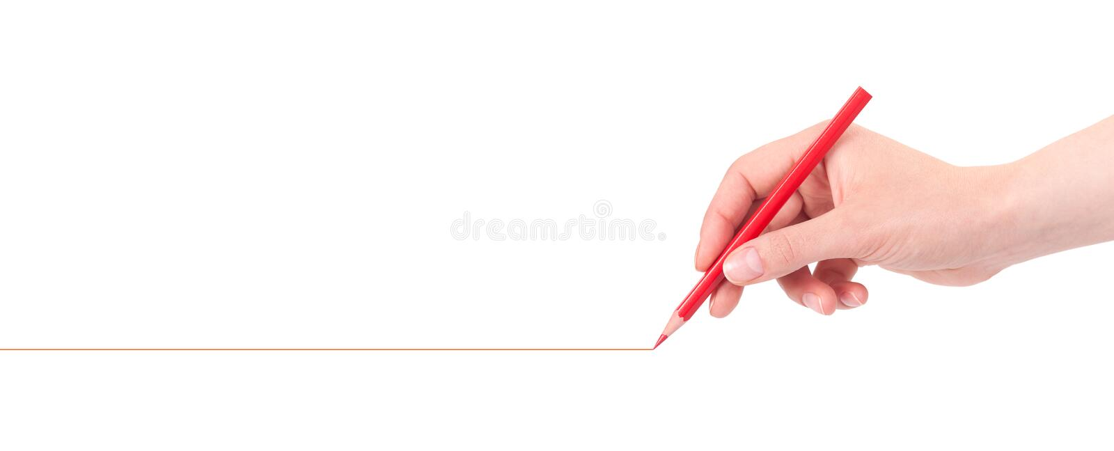 Hand drawing red line with pencil. On a white background royalty free stock photos