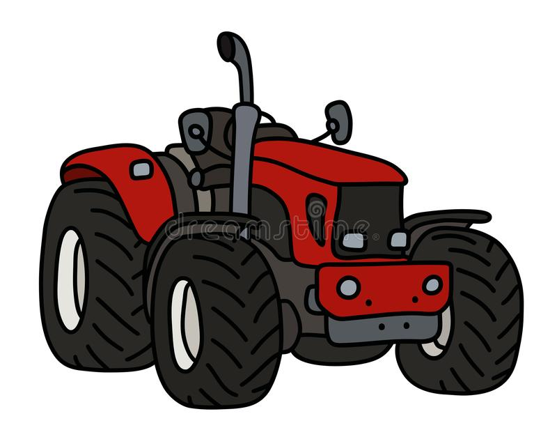 The red small tractor vector illustration