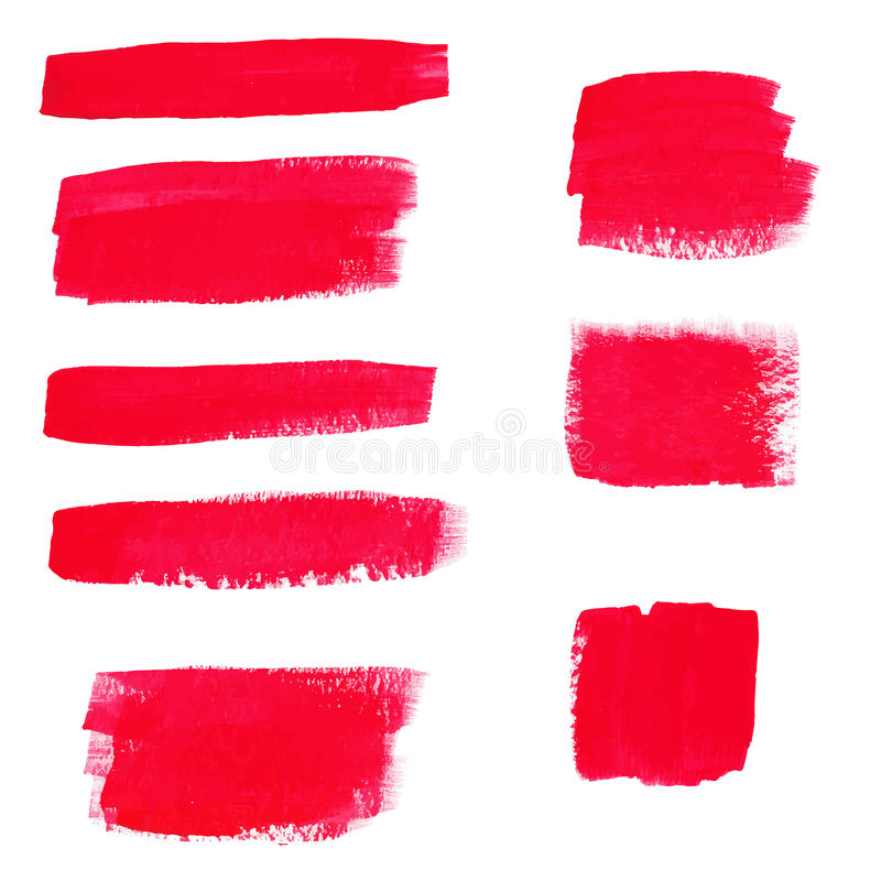 Hand-drawing red textures of brush strokes in random shape. Vector illustration of Hand-drawing red textures of brush strokes in random shape royalty free illustration