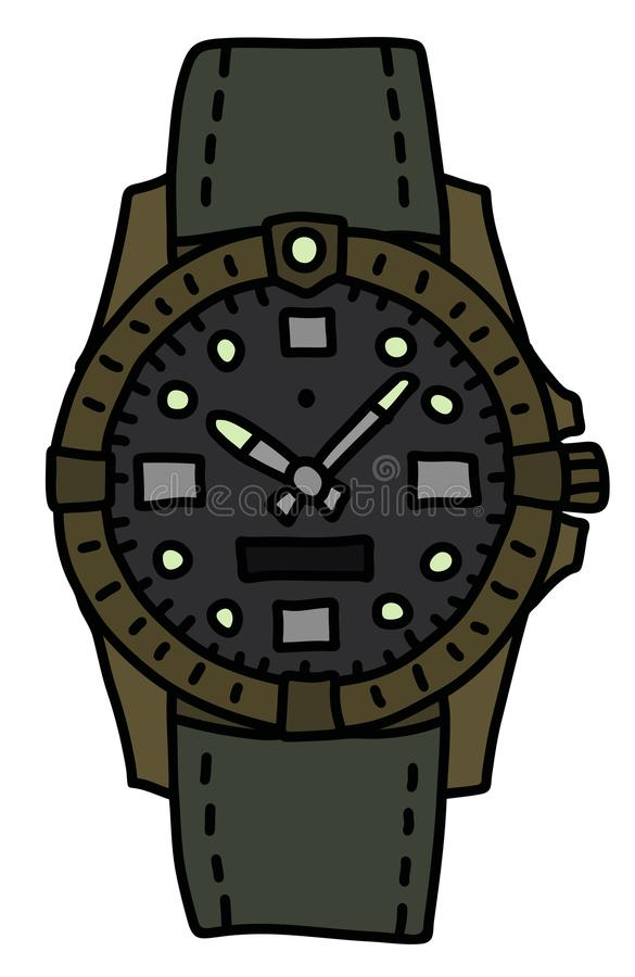 The retro waterproof wristwatch royalty free illustration