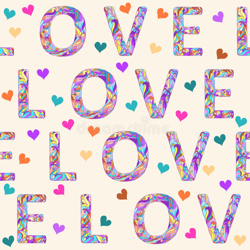 Hand-drawing seamless pattern background with bright colored motley love word and hearts for valentines day or wedding. Hand-drawing seamless pattern background vector illustration