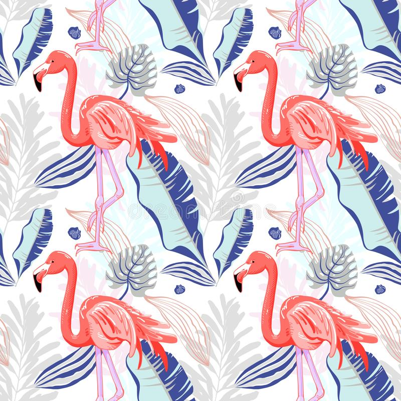 Hand drawing seamless pattern with pink flamingo and tropical le vector illustration