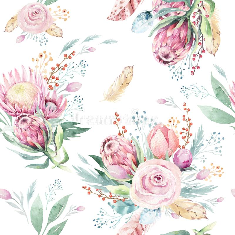 Hand drawing watercolor floral pattern with protea rose, leaves, branches and flowers. Bohemian seamless gold pink stock illustration