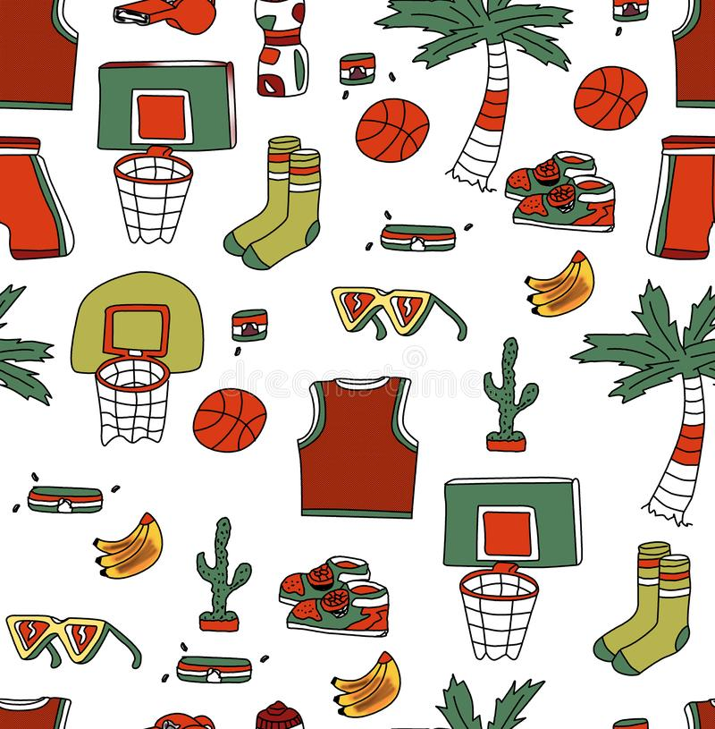 Hand drawing shoe palm tree basketball backboard ball tropical items white background stock illustration