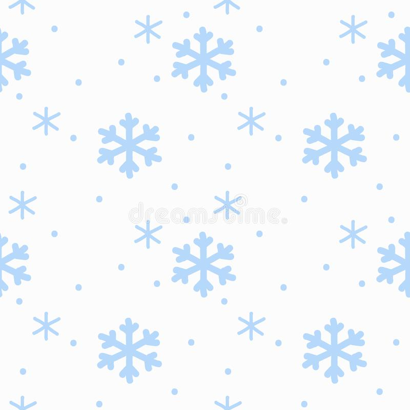 Hand drawing sign snowflakes blue on white background seamless pattern isolated. Winter background stock illustration