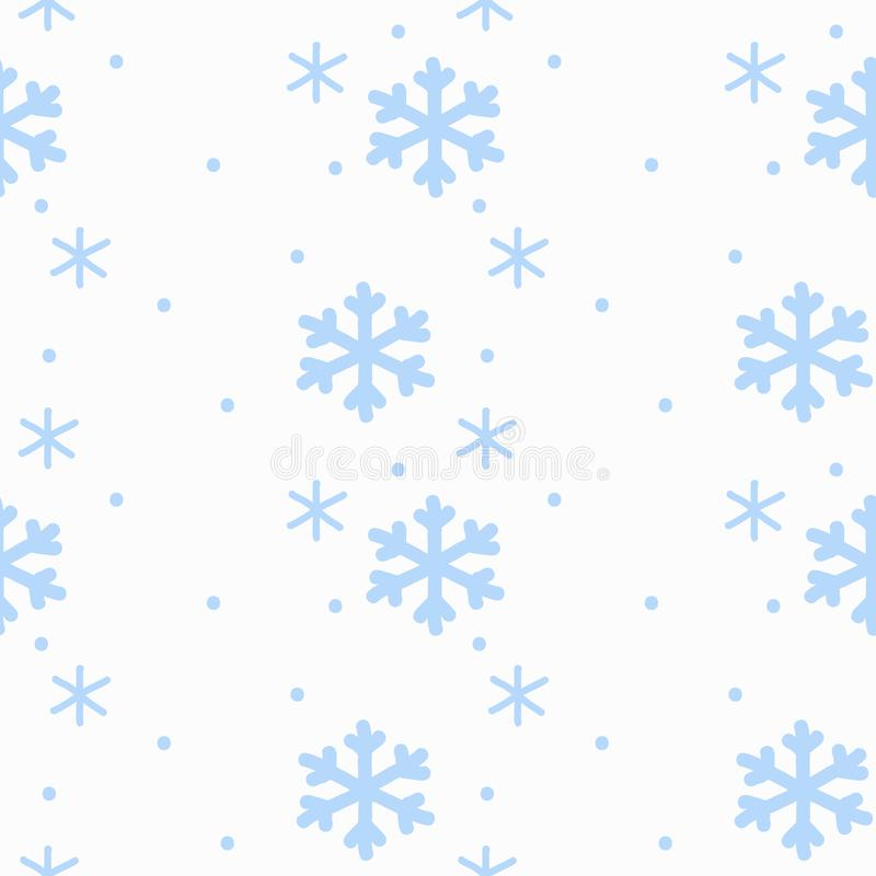 Hand drawing sign snowflakes blue on white background seamless pattern isolated. Winter background royalty free illustration