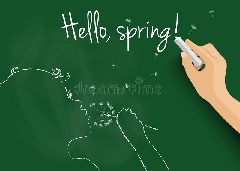Hand drawing silhouette of spring girl, and writing vector illustration