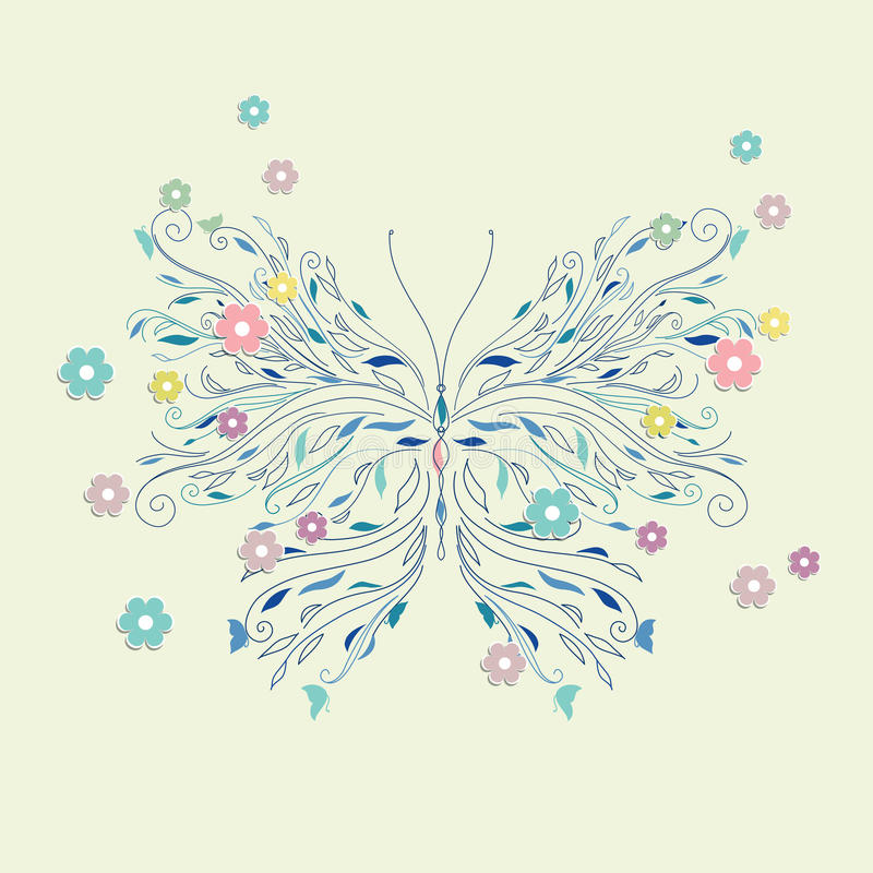 Hand drawing sketch butterfly vector stock illustration