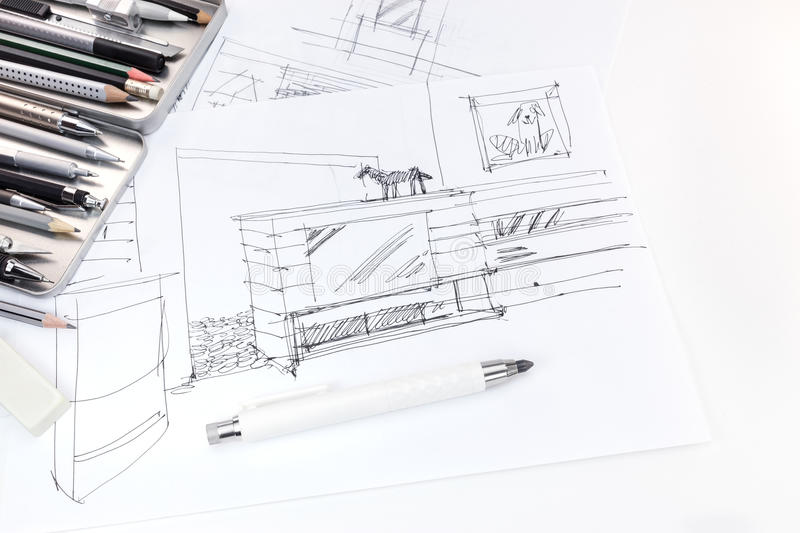 Hand drawing sketch of interior and furniture for living room wi download hand drawing sketch of interior and furniture for living room wi stock image image malvernweather Image collections