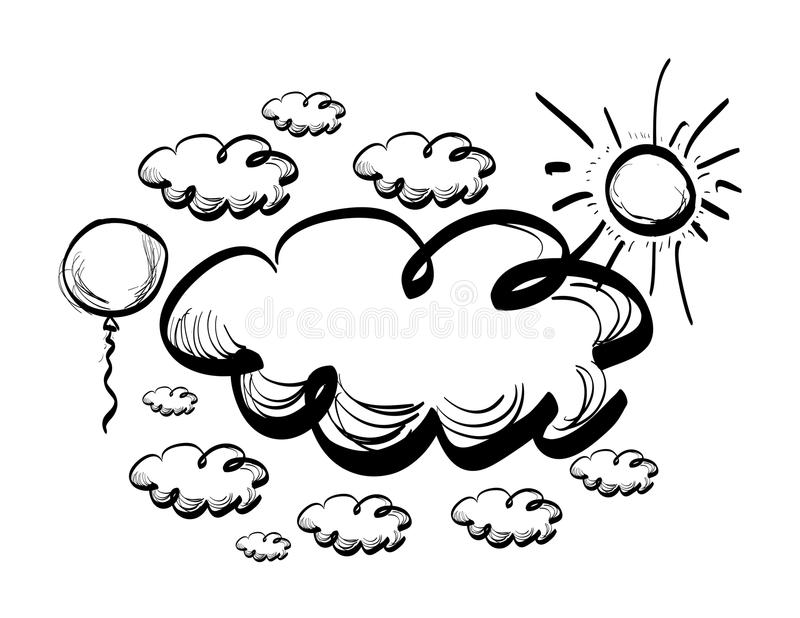 Hand drawing sky with clouds. Vector illustration stock illustration
