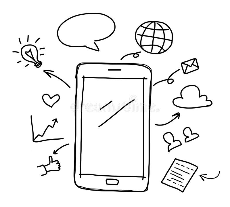 hand drawing smart phone with social media stock