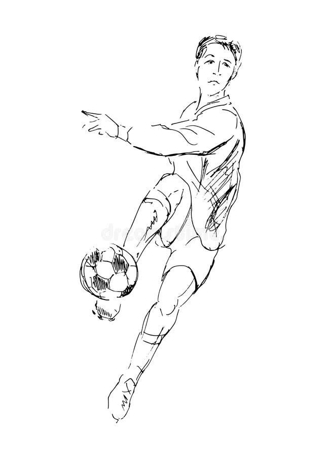 Kleurplaat Owl Hand Drawing A Soccer Player Stock Vector Illustration