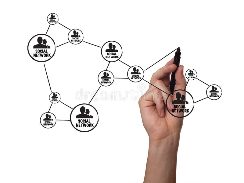 Download Hand Drawing Social Network Scheme On Whiteboard Stock Illustration - Image: 19584293