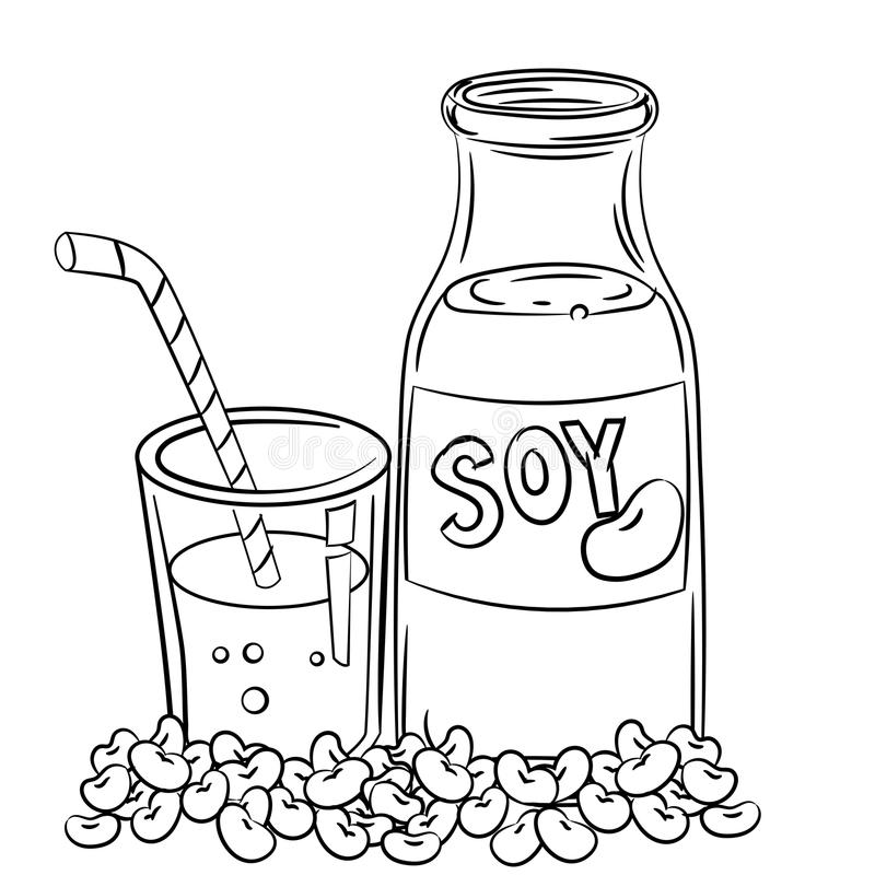 Hand drawing soy milk -Vector Illustration. Hand drawn sketch soy milk, Black and White simple line Vector Illustration for Coloring Book - Line Drawn Vector vector illustration