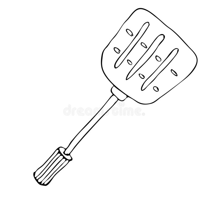 Hand drawing spatula for a frying pan. Outline sketch of turner for cook food. Kitchen accessories. Tools for cooking. Isolated on. White background. Vector royalty free illustration