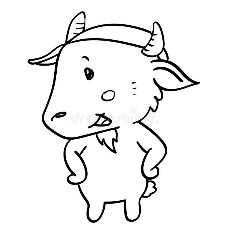 cartoon goat standing-Vector hand drawn royalty free illustration