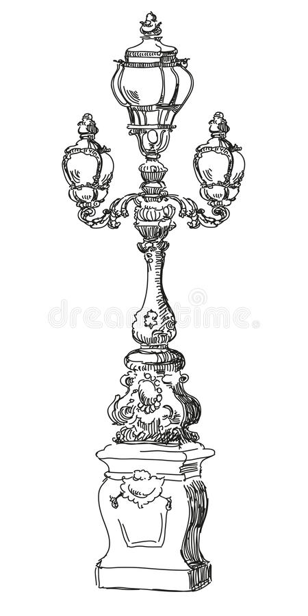 Hand drawing street lamp in Paris stock illustration